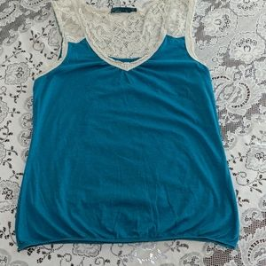 Prana tank teal with cream lace